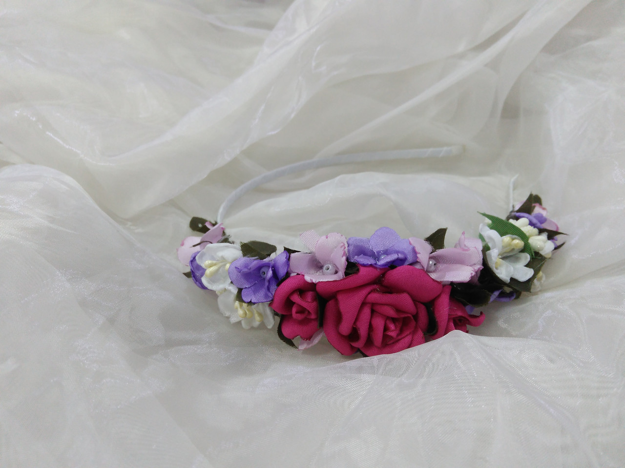 Вінок-ободок з квітів (обруч) малиновий для дорослих і дітей