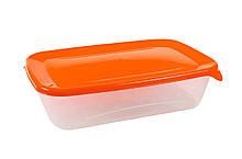 Контейнер прямоугольный «Лайт» с оранжевой крышкой 1,0л.