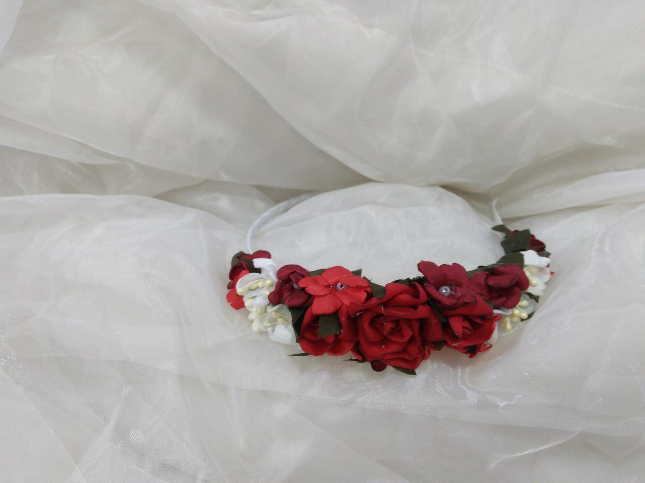 Обруч/вінок/ободок на голову з квітів червоний з білим для дорослих і дітей