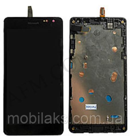 Дисплей (LCD) Microsoft 535/  535 Lumia Dual Sim с сенсором чёрный + рамка (CT2S1973FPC- A1) ориг, фото 2