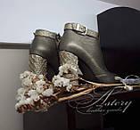 Модные бронзовые ботильоны из кожи и питона на тостом каблуке, фото 5