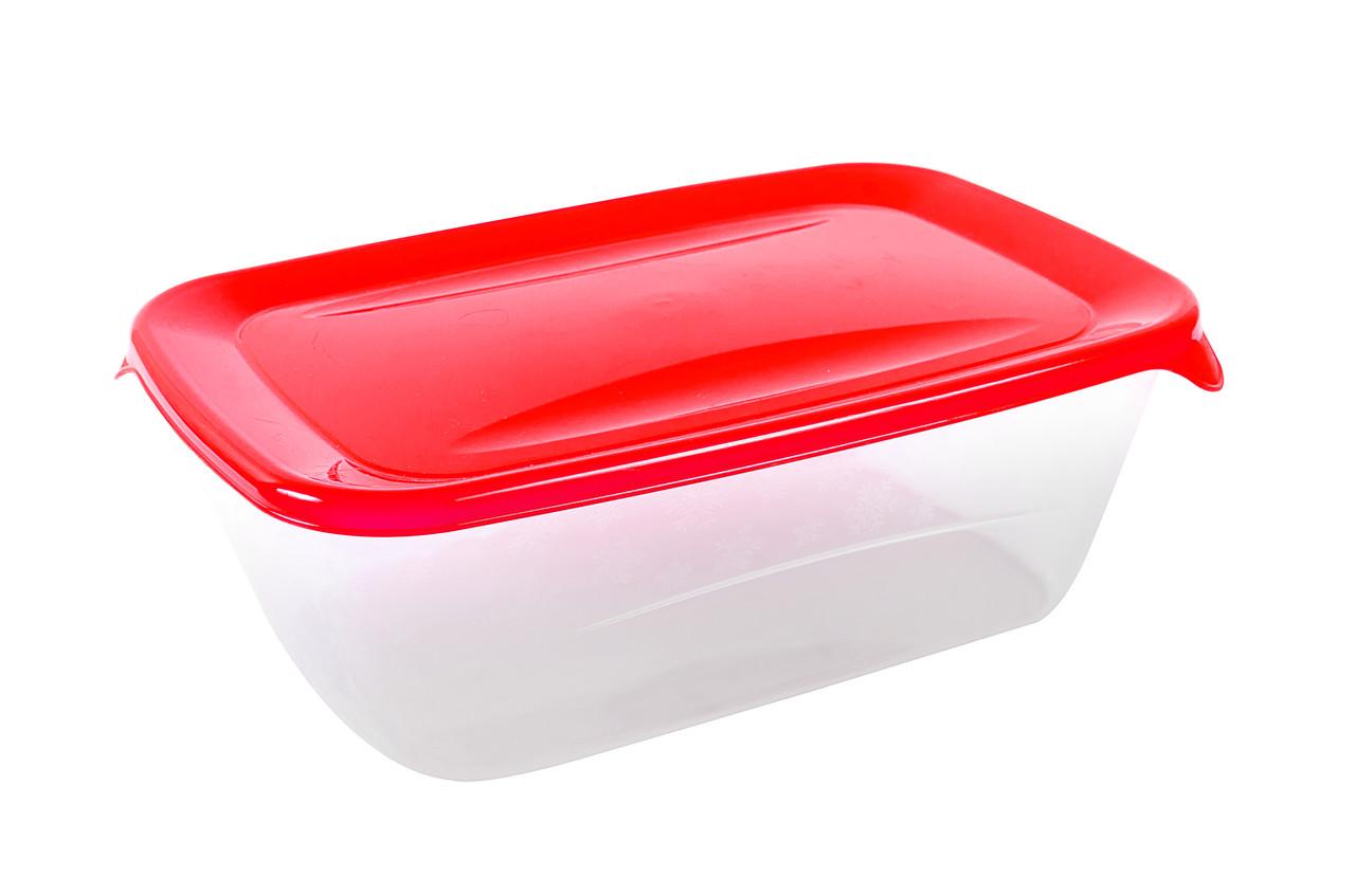 Контейнер прямоугольный «Лайт» с красной крышкой 1,5л.