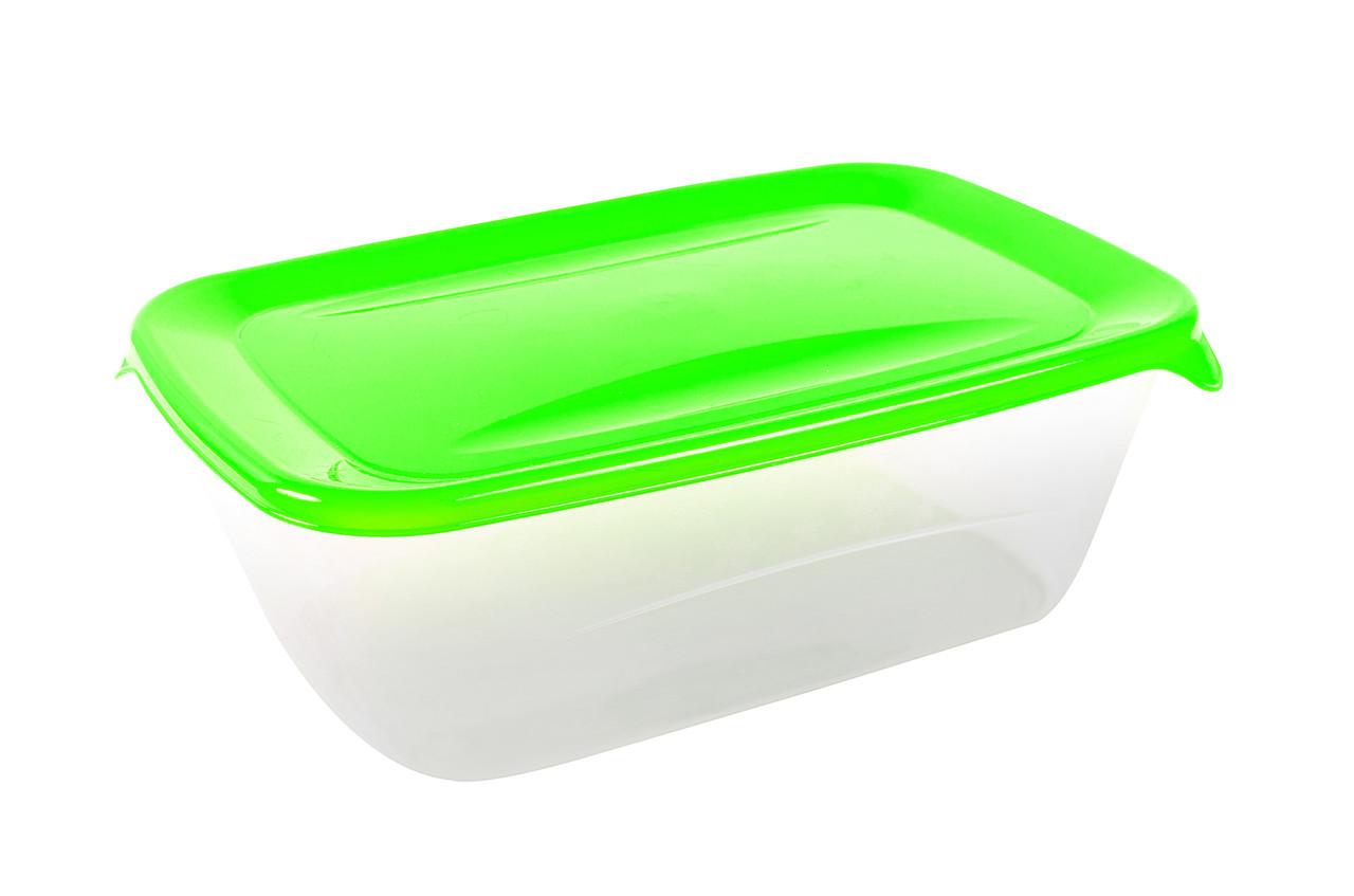Контейнер прямоугольный «Лайт» с салатовой крышкой 1,5л.