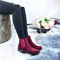 Бордовые ботинки женские эко - замша, низкий ход 37 38 39 40 41
