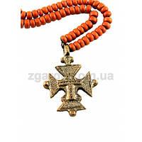 Бронзовый крест с коралловыми бусами
