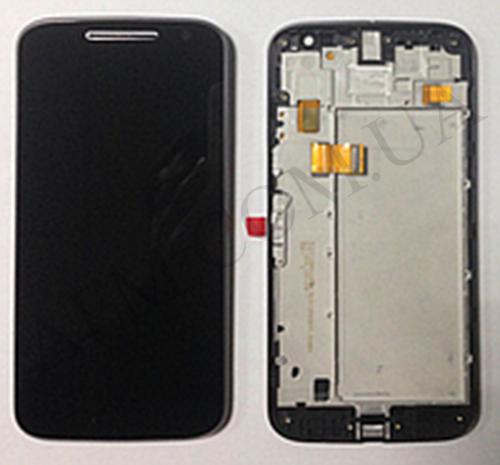 Дисплей (LCD) Motorola XT1620 Moto G4/  XT1621/  XT1622/  XT1624/  XT с сенсором чёрный + рамка оригинал, фото 2