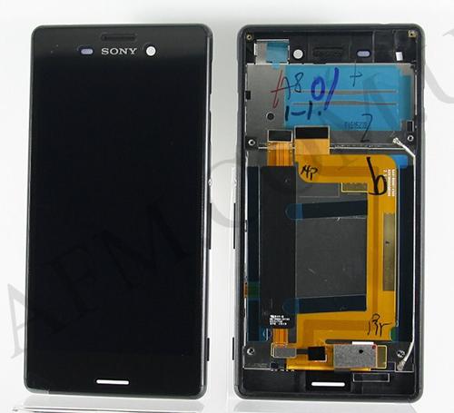 Дисплей (LCD) Sony E2303 Xperia M4 Aqua/  E2306 с сенсором чёрный оригинал + рамка