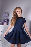 """Детское школьное платье  """"Эсмеральда"""", размер 128, 146, темно синий"""