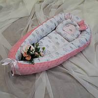 Кокон-гнездышко для новорожденных белор-розовый + ортопедическая подушка, фото 1