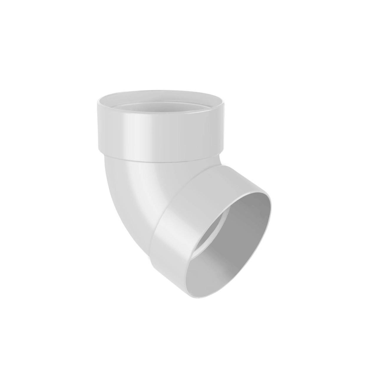 Отвод трубы двумуфтовый 67* белый 75мм