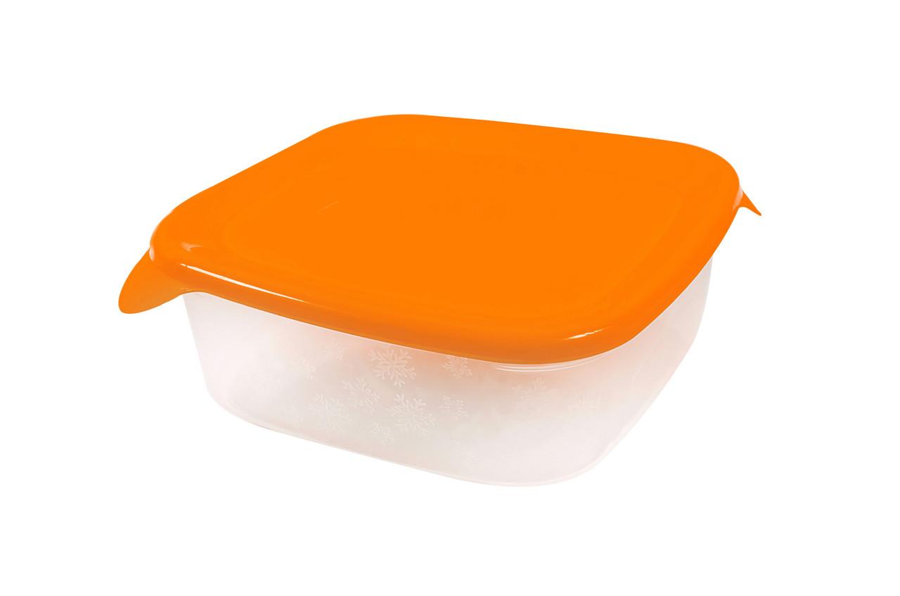 Контейнер квадратный «Каскад»  с оранжевой крышкой 0,8л.