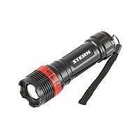 Фонарь бытовой пластик  1W LED ремешок зум  3 режима 100%-50%-строб  3хААА Stern 90570