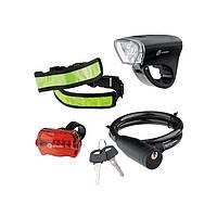 Набор велосипедный передний и задний фонари Led светоотражатель и тросовый замок Stern 90561