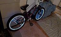 Неоновая подсветка колес велосипеда.