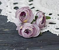 Цветок пиона пепельно-сиреневого цвета ткань 3 шт, фото 1
