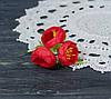Цветок пиона красного цвета ткань 3 шт