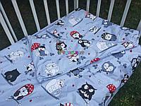 Постельный набор в детскую кроватку (3 предмета) Совята серый