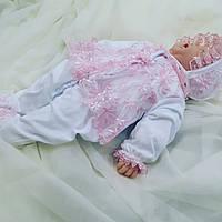 """Человечек + шапочка """"Розовое кружево""""  для новорожденных, фото 1"""