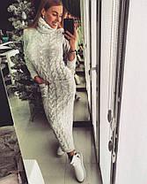 Платье в пол вязаное под горло с рукавом, фото 3