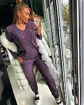 Костюм женский вязаный штаны и кофта косичка с вырезом, фото 3