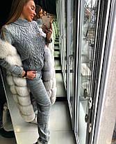 Женский ультрамодный вязаный очень теплый костюм, фото 2
