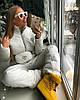 Стильный женский лыжный костюм с поясной сумкой