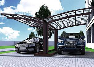Автомобильный навес из алюминия с монолитным поликарбонатом Oscar CarPort  A03-5652
