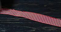 Лента тканная в клетку красная 2,5 см *90 см, фото 1