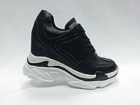 Кросовки черные на толстой подошве. Сникерсы. , фото 1