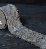 Декоративная лента 7 см из меха серая на дер. катушке, фото 1