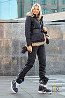 Комбинезон женский из высококачественной плащевки, в комплекте варежки и сумка с мехом енота - Чёрный