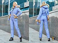 Комбинезон женский из высококачественной плащевки, в комплекте варежки и сумка с мехом енота - Голубой