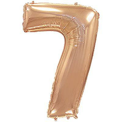 """Фольгований куля цифра """"7"""" металік рожеве золото"""