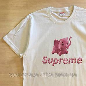 Мужская белая футболка Supreme Pink Pig унисекс Реплика, фото 2