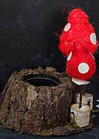 Кашпо из коры с мухоморами большое