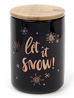 Банка фарфоровая Let it snow 725мл с бамбуковой крышкой, черная  (BD-945-129_psg)