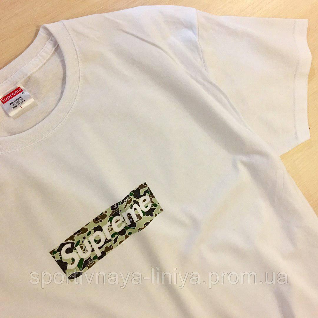 Мужская белая футболка Supreme Camo унисекс Реплика