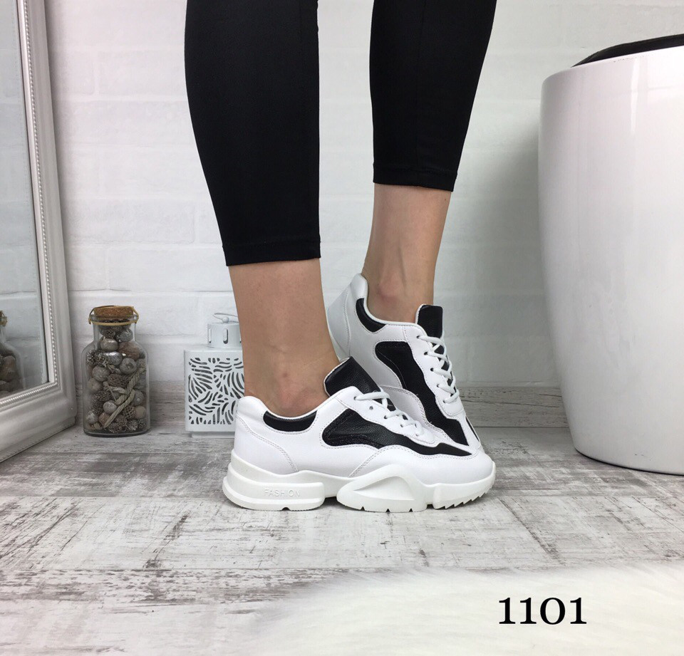 Женские кроссовки стильные белые с черным эко-кожа+ текстиль ... c9620c2a47a