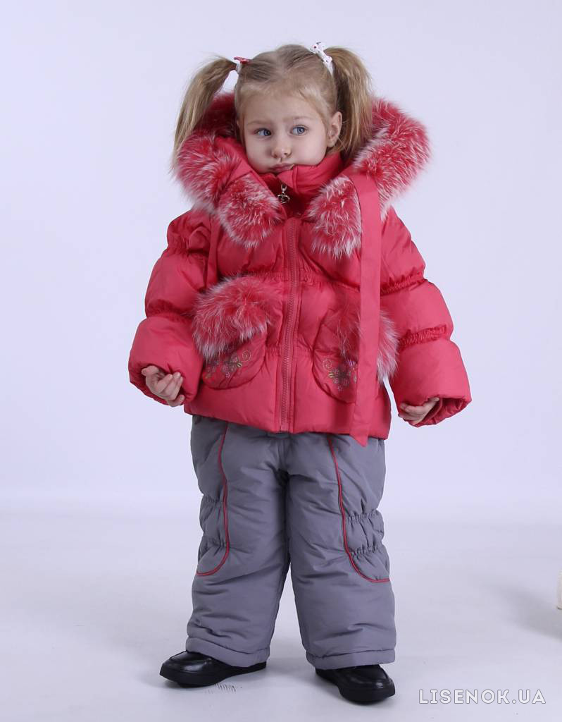 Костюм зимний для девочки ТМ KIKO, наполнитель-пух, цвет - коралловый