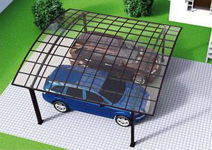 Автомобильный навес из алюминия с монолитным поликарбонатом Oscar CarPort A02-5652