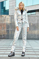 Комбинезон лыжный женскийМонклер из лаке на силиконе, поясом и капюшоном с опушкой енота (4 цвета) - Серебро