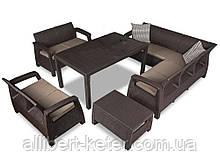 Комплект садових меблів зі штучного ротангу Corfu Dining Love темно-коричневий ( Keter )