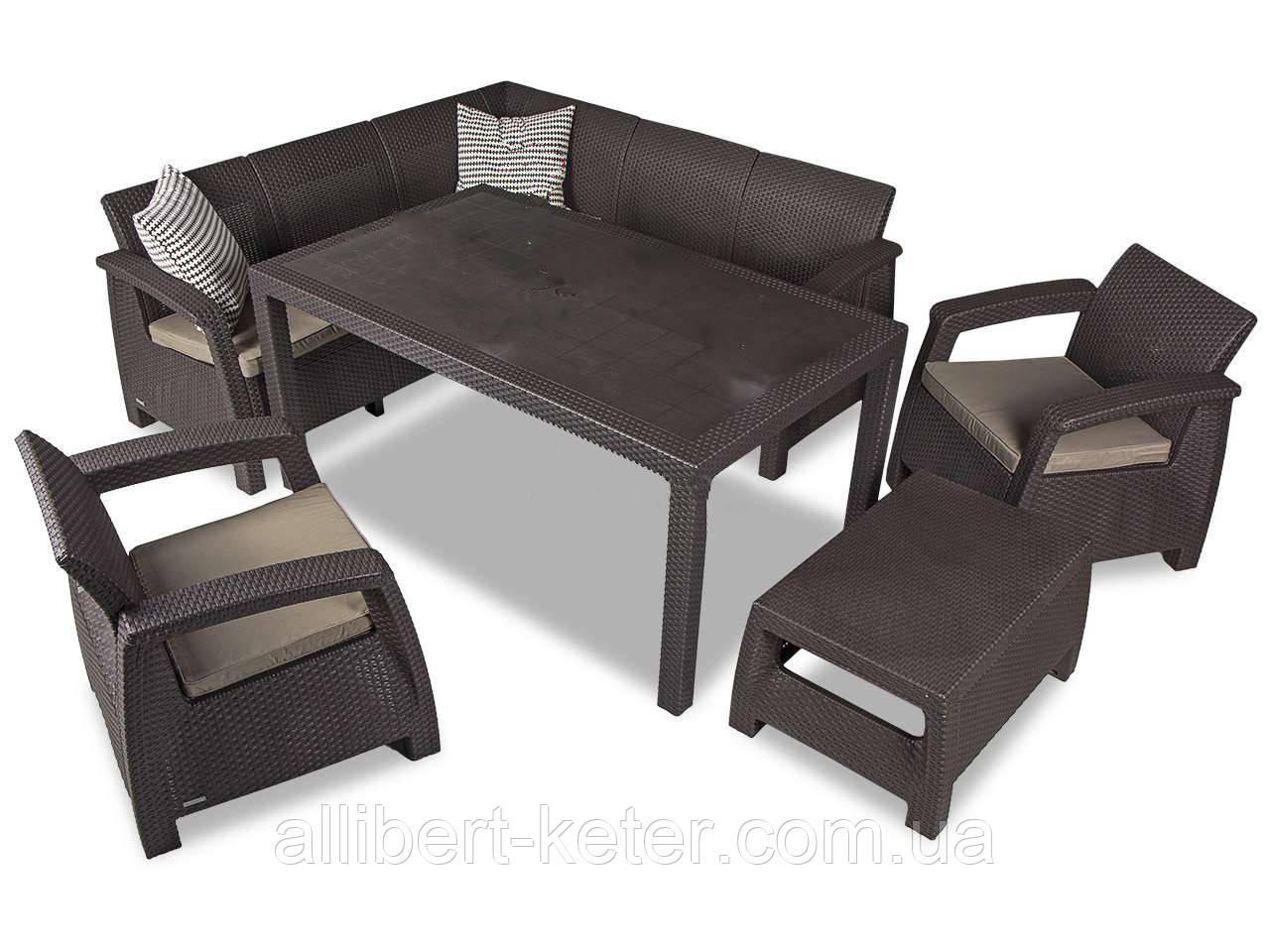 Комплект садових меблів зі штучного ротангу Corfu Dining Duo темно-коричневий (Keter)