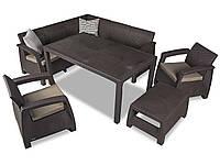 Комплект садових меблів зі штучного ротангу Corfu Dining Duo темно-коричневий (Keter), фото 1