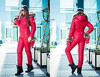 Комбинезон зимний женский с рукавичками из водоотталкивающей плащёвки Монклер (5 цветов) -Красный DD/-9300