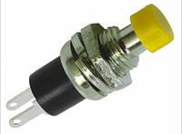 Кнопка без фикс. PBS-10B-2 OFF-(ON), 2pin, 250VAC, 1A (желтая), фото 1