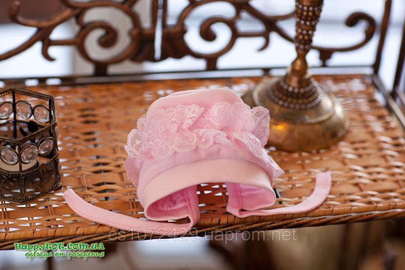 Чепчик с рюшей ТМ Happy TOT размеры 36, 38, 40 нежно-розовый молочный белый