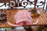 Чепчик с рюшей ТМ Happy TOT размеры 36, 38, 40 нежно-розовый молочный белый, фото 1