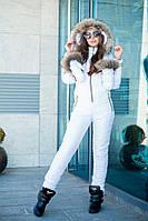 Комбинезон зимний женский с рукавичками из водоотталкивающей плащёвки Монклер (5 цветов) -Белый DD/-9300