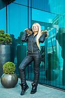 Комбинезон зимний женский с рукавичками из водоотталкивающей плащёвки Монклер (5 цветов) -Черный DD/-9300